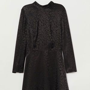H&M Black Leopard Print Dress with Tie Detail